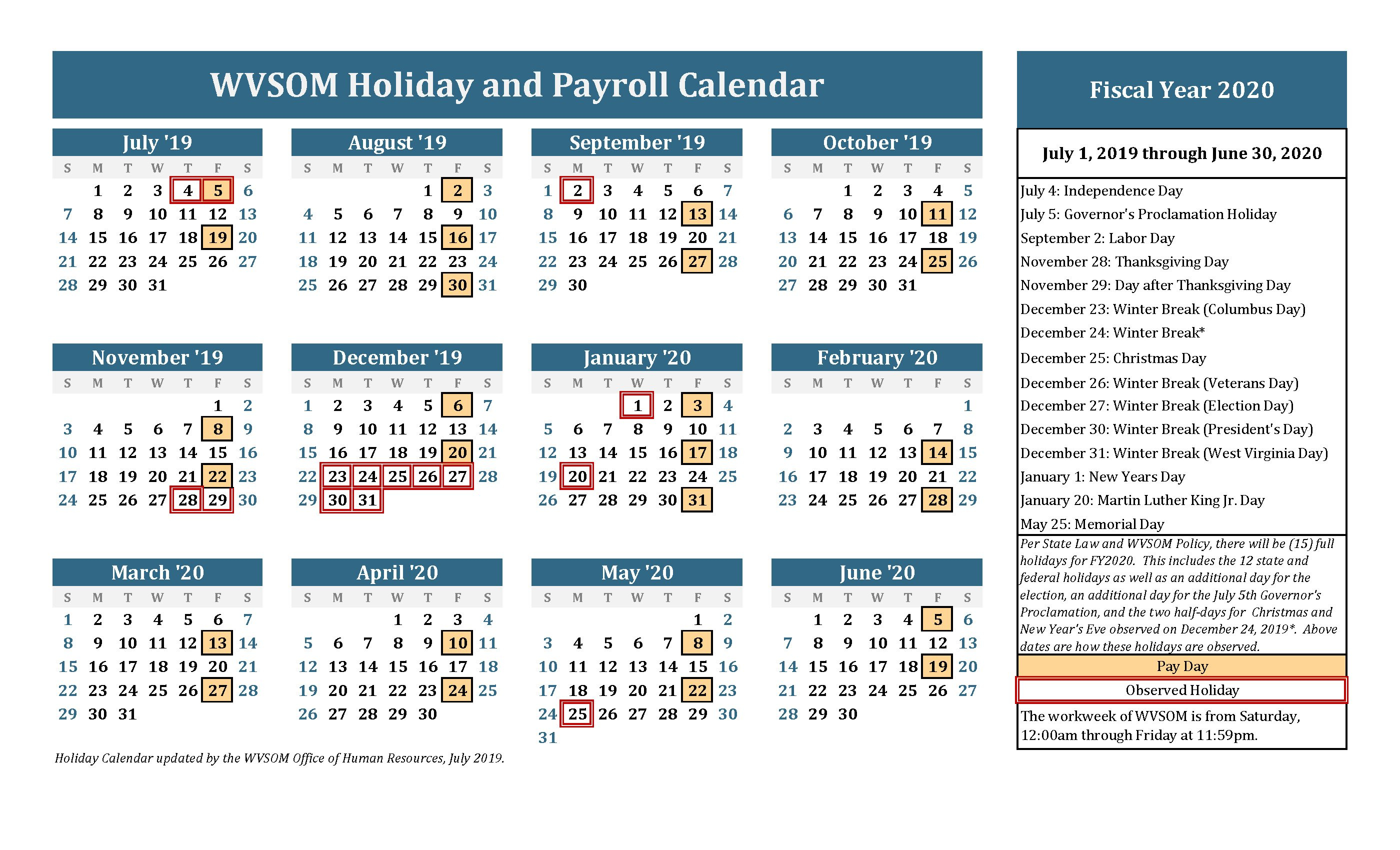 Human Resources – Holiday Calendar | West Virginia School Of Hr Calendar For The Year