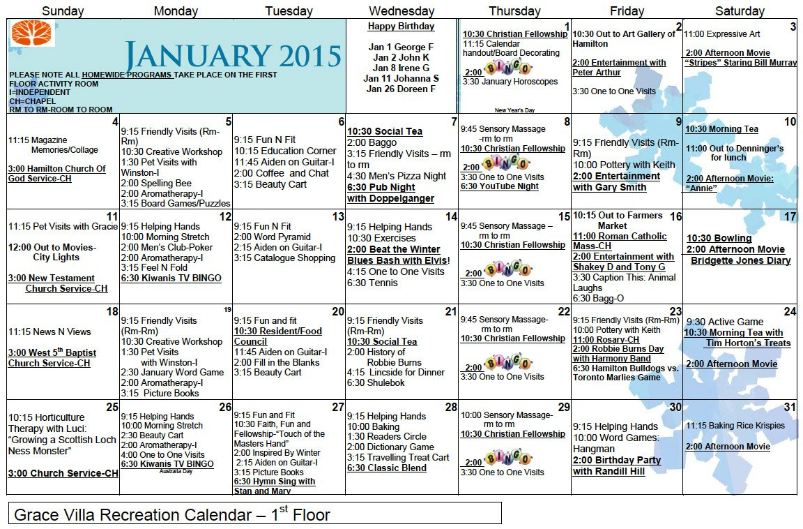 January 2015 Calendar | Grace Villa Ltc – Apans Health Services Calendar Three Monsts Temple