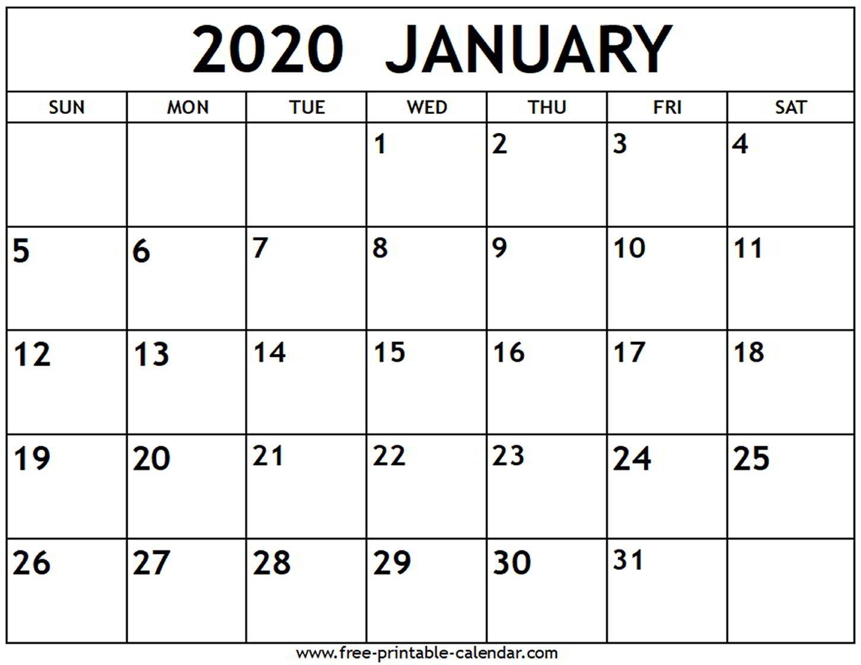 January 2020 Calendar – Free Printable Calendar Free Calendar To Edit And Save