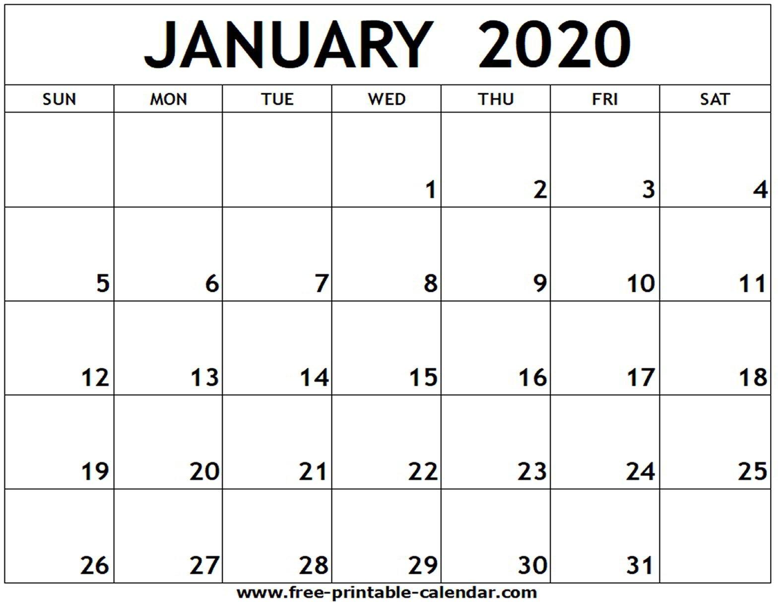 January 2020 Printable Calendar – Free Printable Calendar Free Fill In Calendar