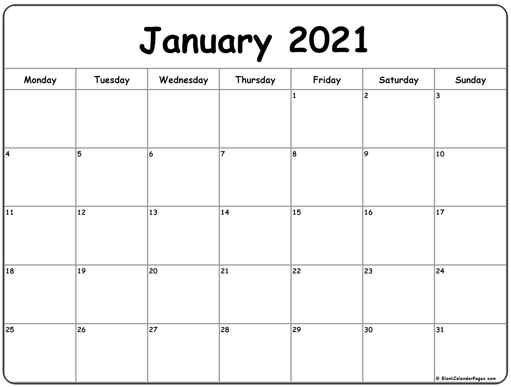January 2021 Monday Calendar | Monday To Sunday Free Printable Monday To Friday Calendars