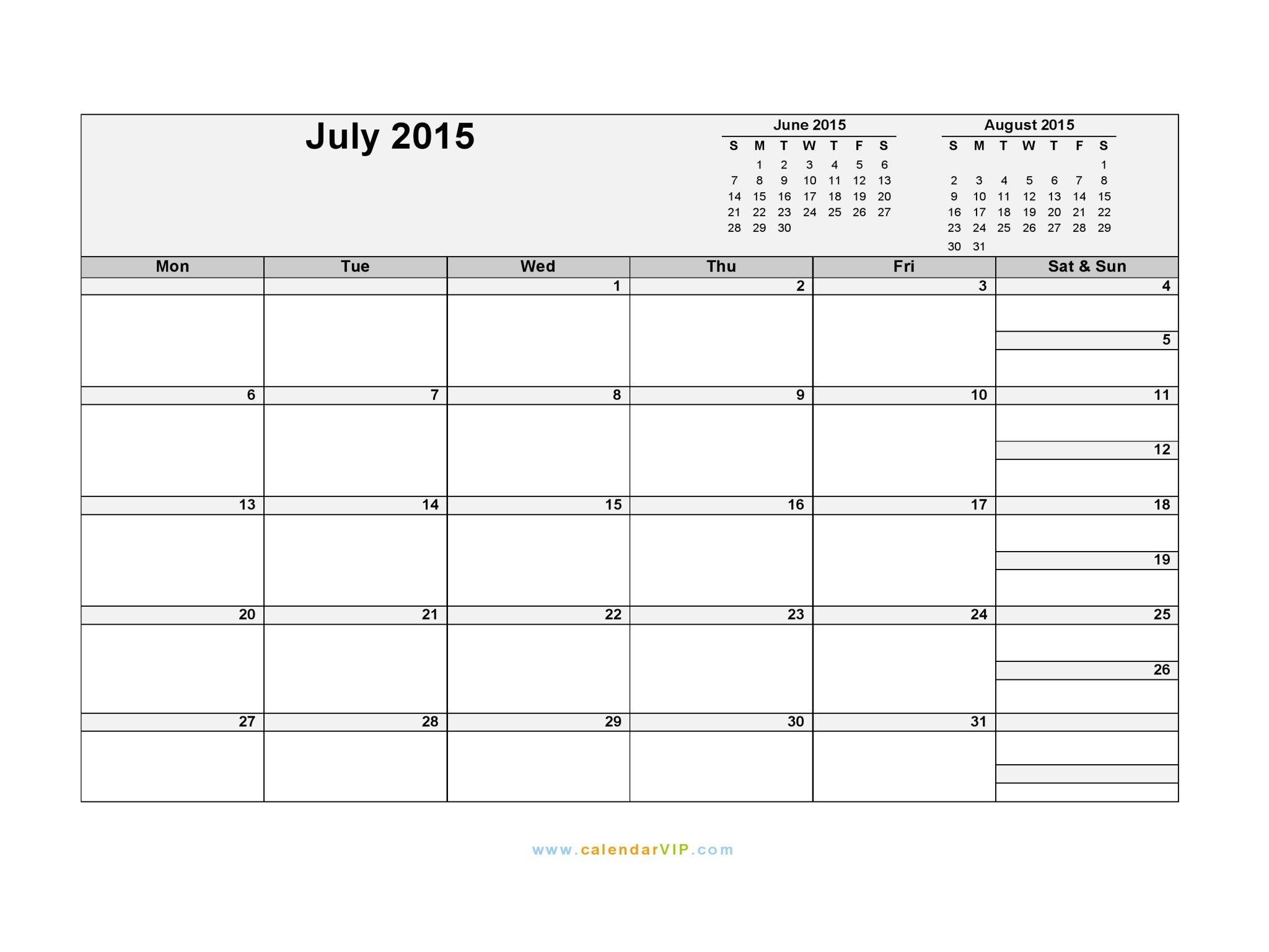 July 2015 Calendar – Blank Printable Calendar Template In Blank Diary 4 Weesk