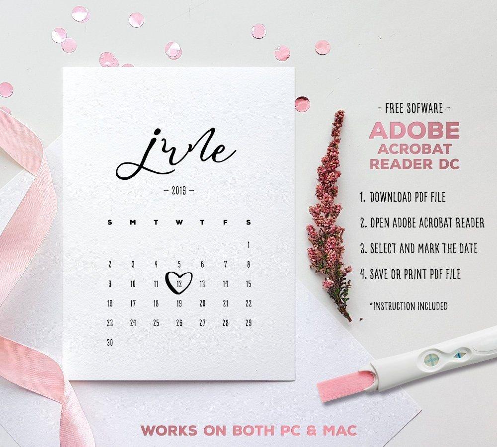 June 2019 Baby Due Date Calendar Template Editable | Etsy Free Baby Due Date Calendar
