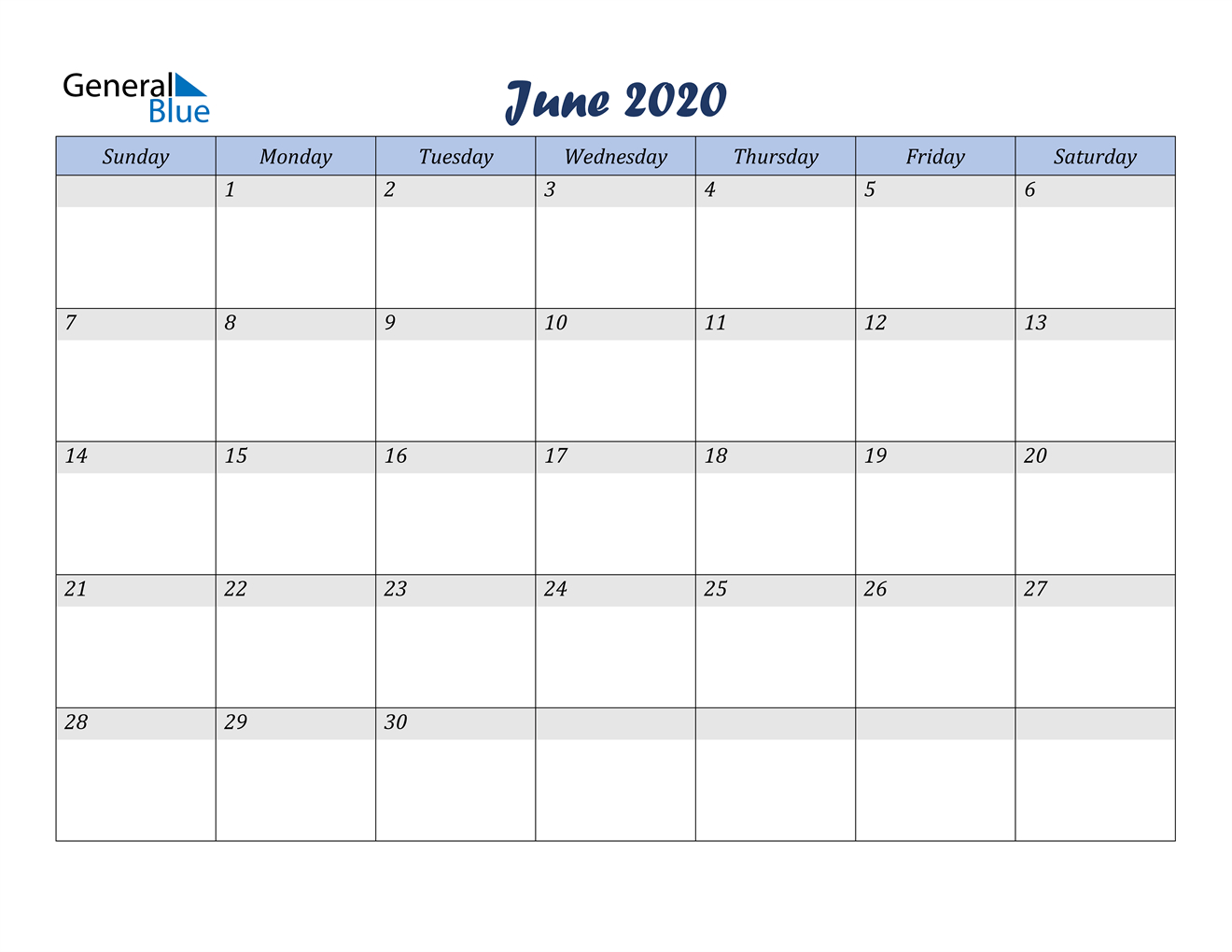 June 2020 Calendar – Pdf Word Excel Calendar That Can Be Edited