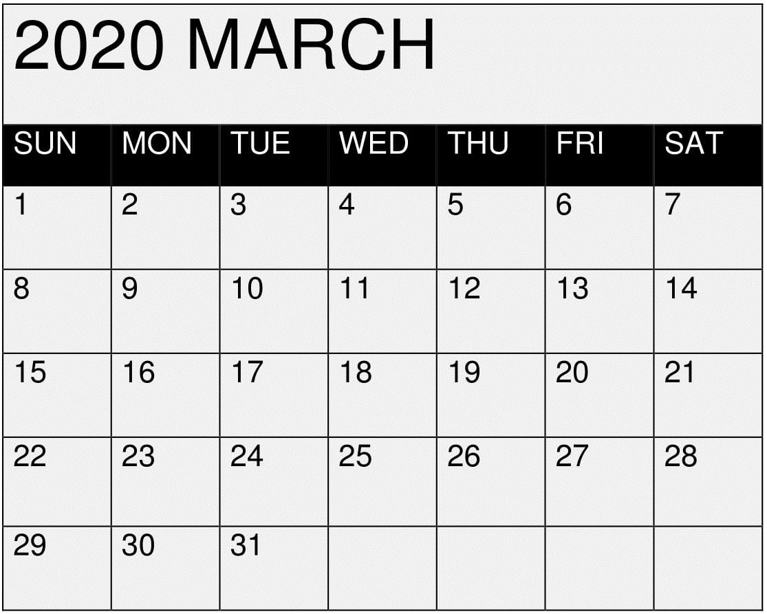 March 2020 Calendar Printable Editablemonth – Latest I Need A Monthly Calendar That I Can Edit