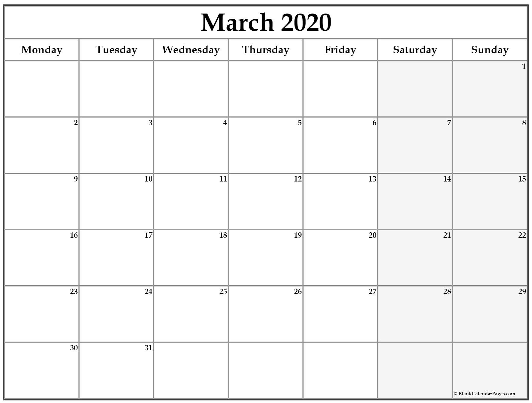 March 2020 Monday Calendar   Monday To Sunday Blank Monday Through Friday Month Calendar Template