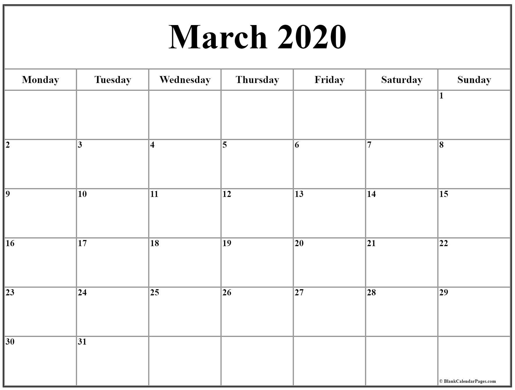 March 2020 Monday Calendar | Monday To Sunday Calendar Monday To Friday