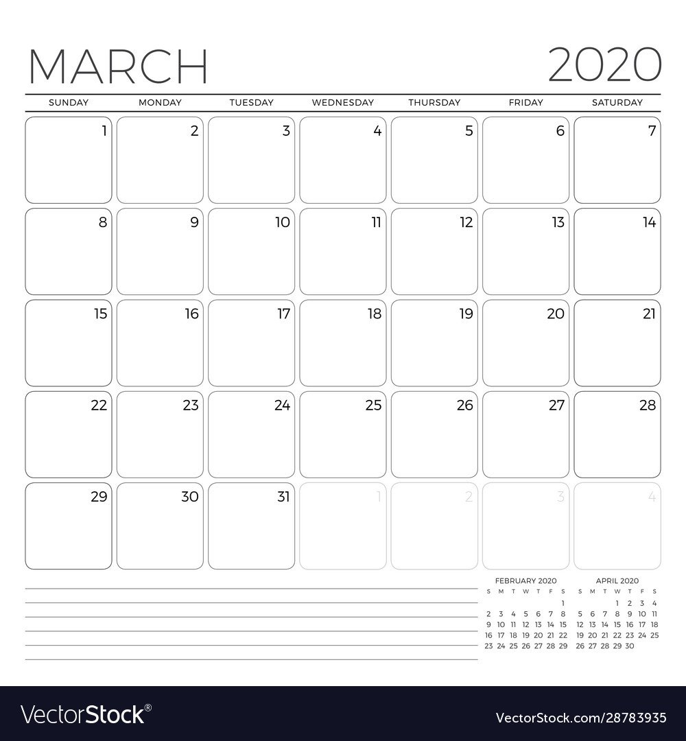 March 2020 Monthly Calendar Planner Template Monday Through Friday 8 5 Calendar