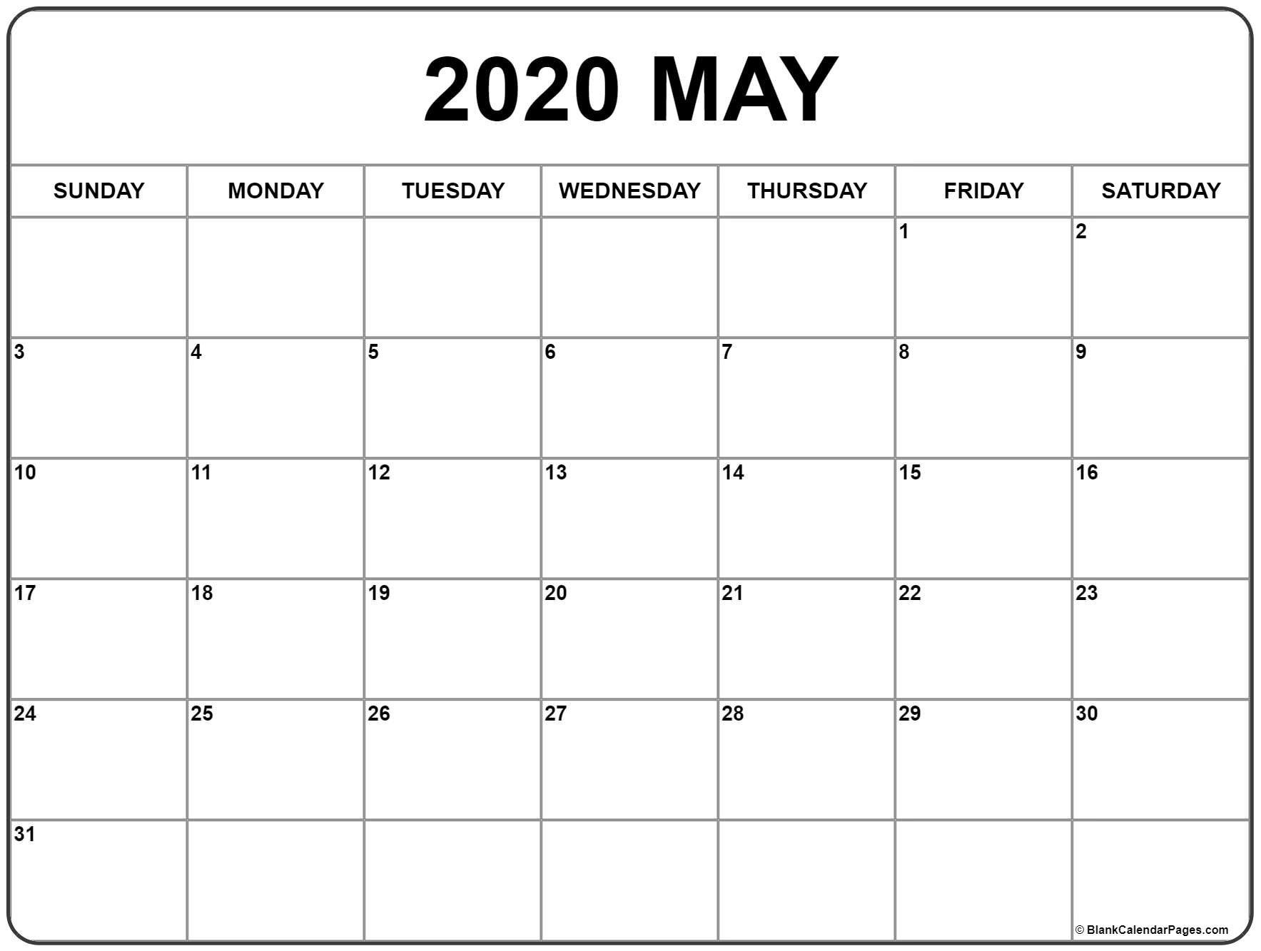 May 2020 Calendar | Free Printable Monthly Calendars Free No Download Printable Calendars