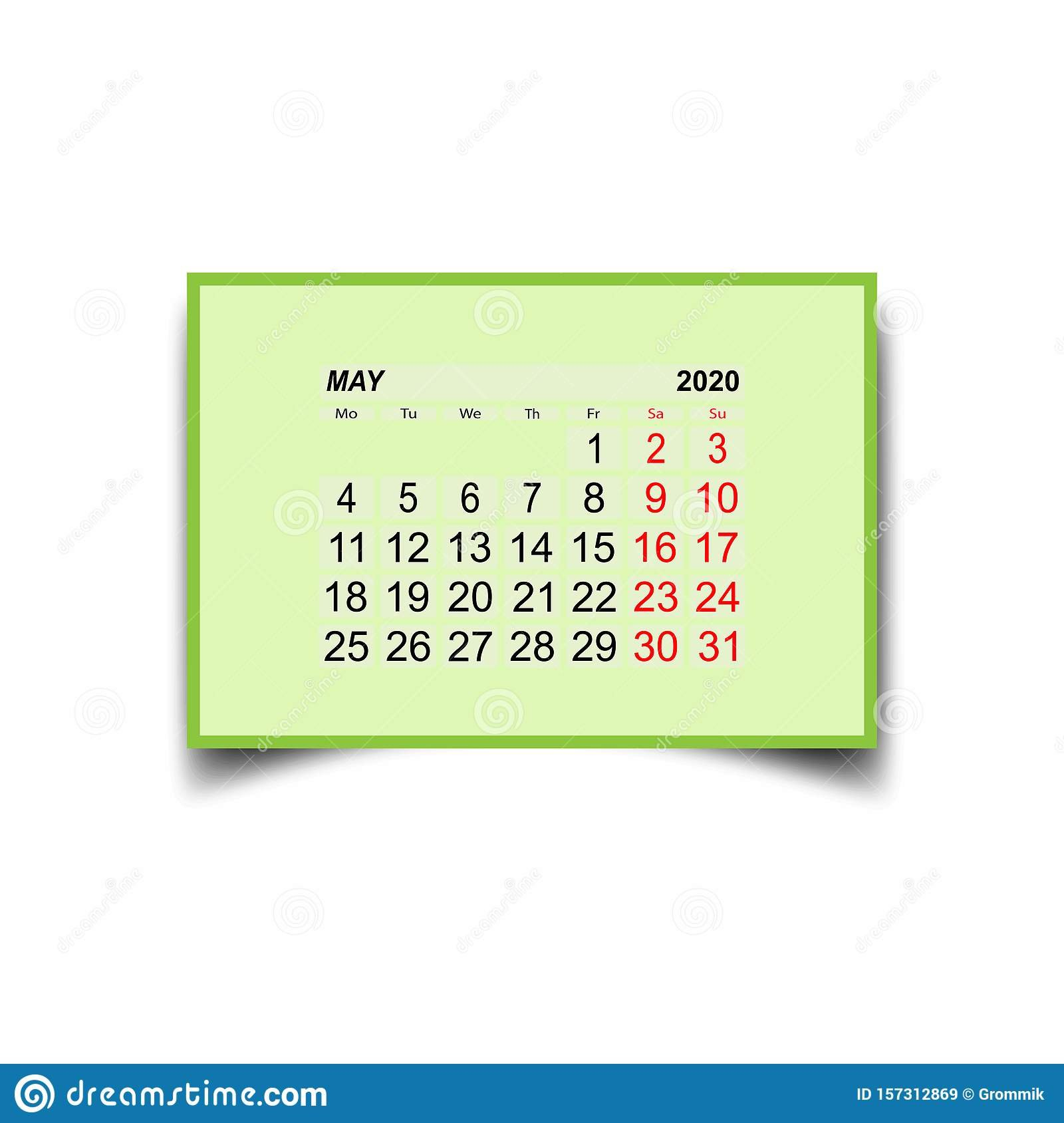 May 2020. Calendar Sheet. Two Days Off A Week Stock Vector Two Weeks In May Calendar