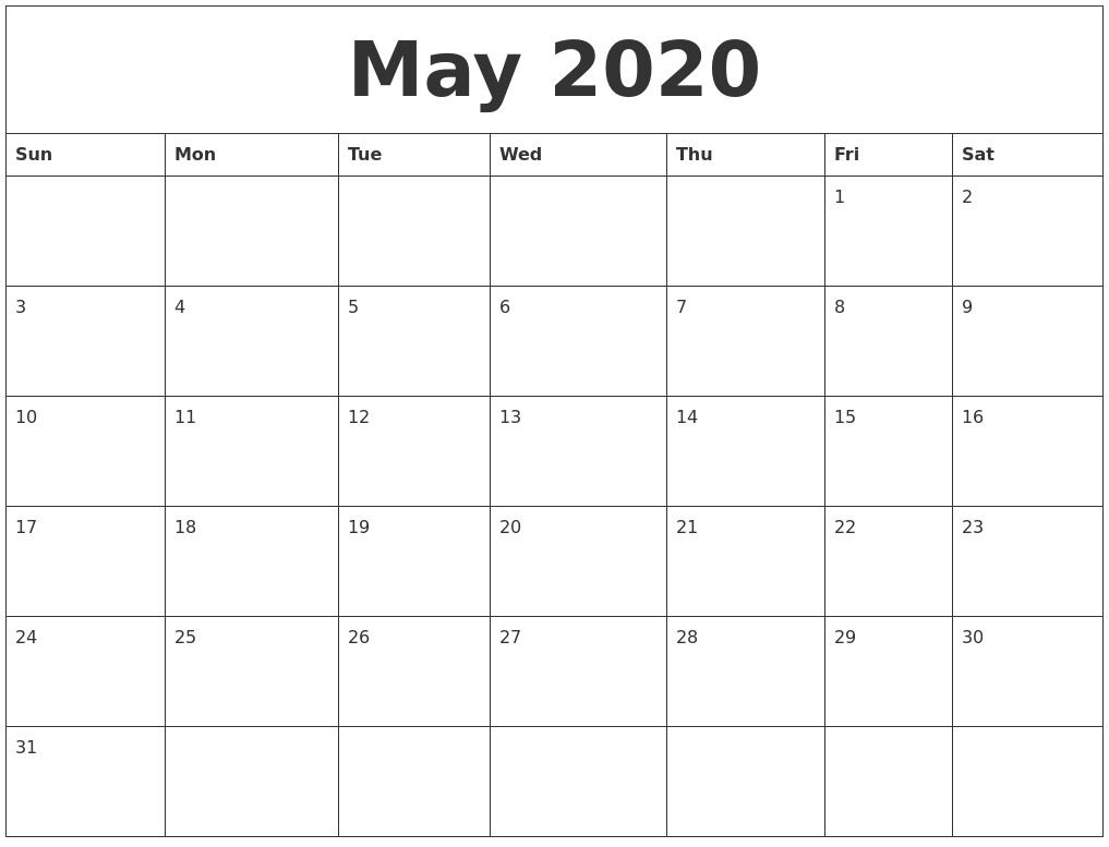 May 2020 Free Online Calendar Fre Fill In Online Calendars