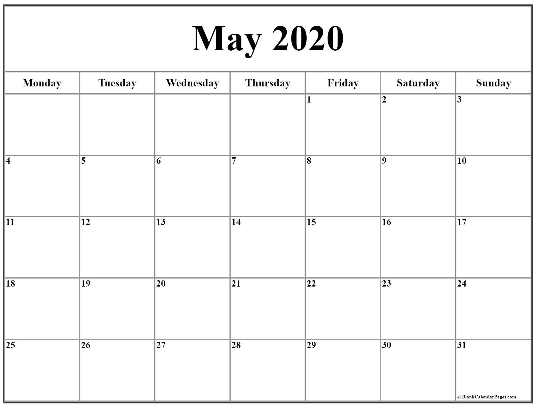 May 2020 Monday Calendar   Monday To Sunday Www.may Caldenar With Monday Thru Fri Dates