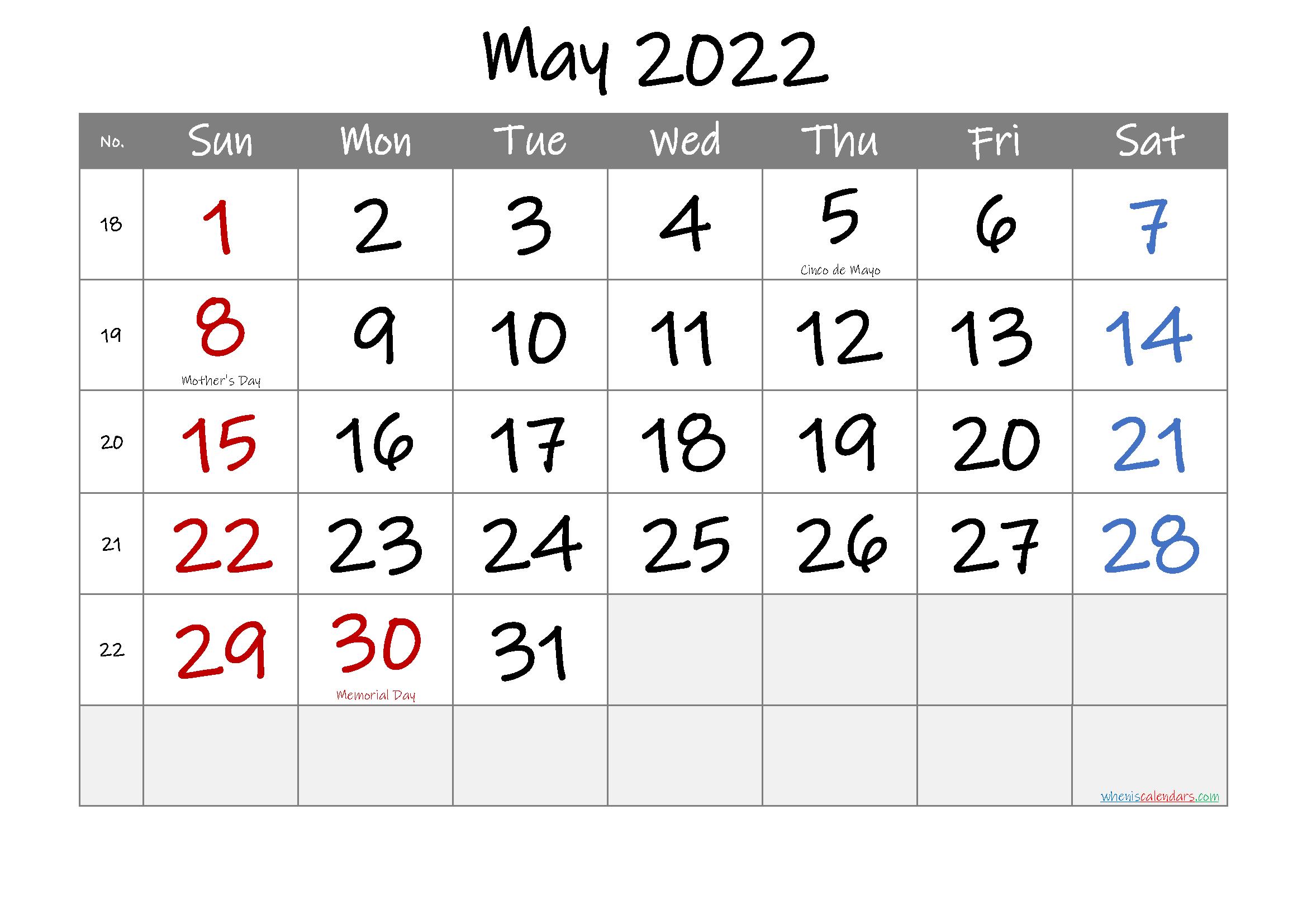May 2022 Free Printable Calendar Template No.if22M29 – Free Free Printable Calendars 8 Week