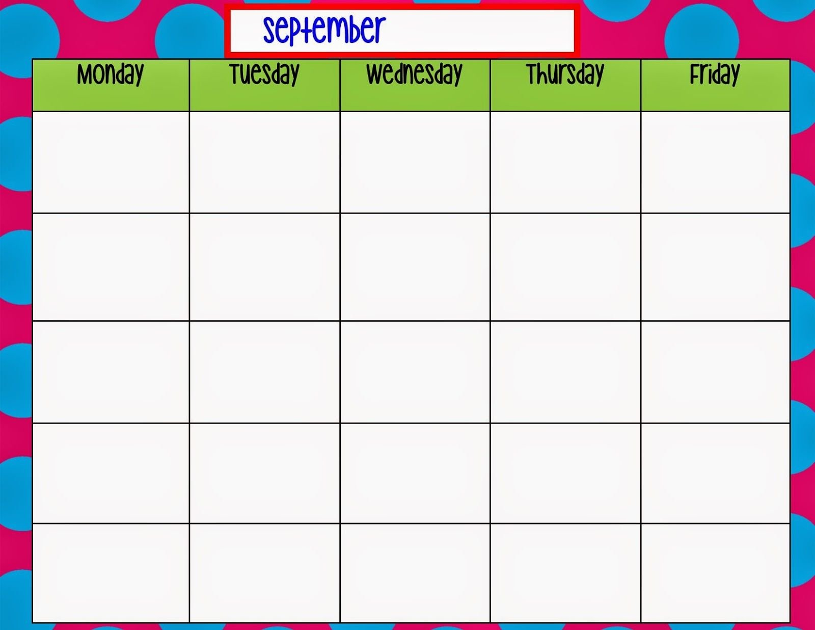 Monday Through Friday Calendar Template (With Images Free Printable Undated Calendar Monday Thru Friday