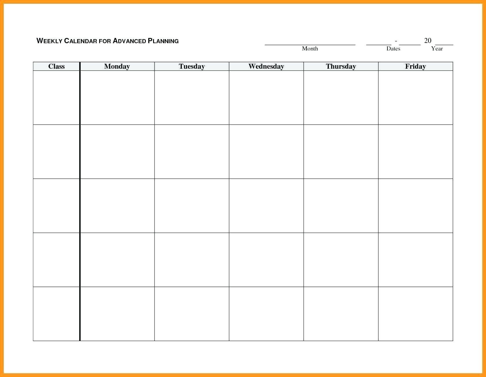 Monday To Friday Blank Calendar Printable   Example Calendar Blank Monday Through Friday Month Calendar Template