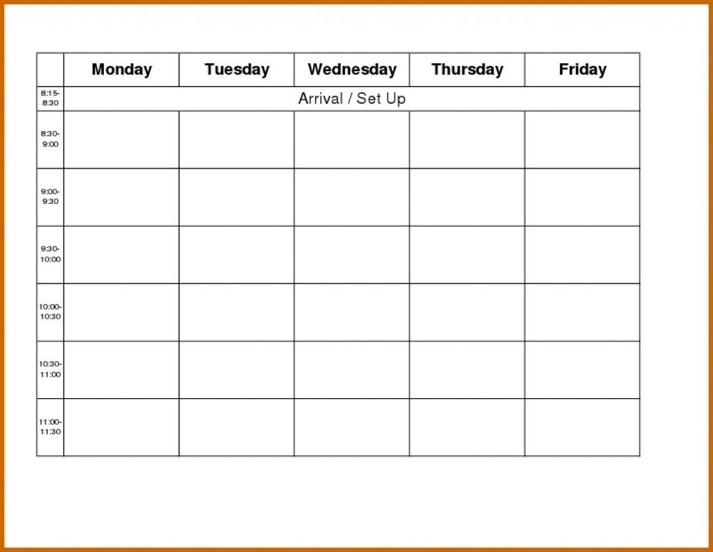 Monday To Friday Calendar Template | Example Calendar Free Printable Monday To Friday Calendars