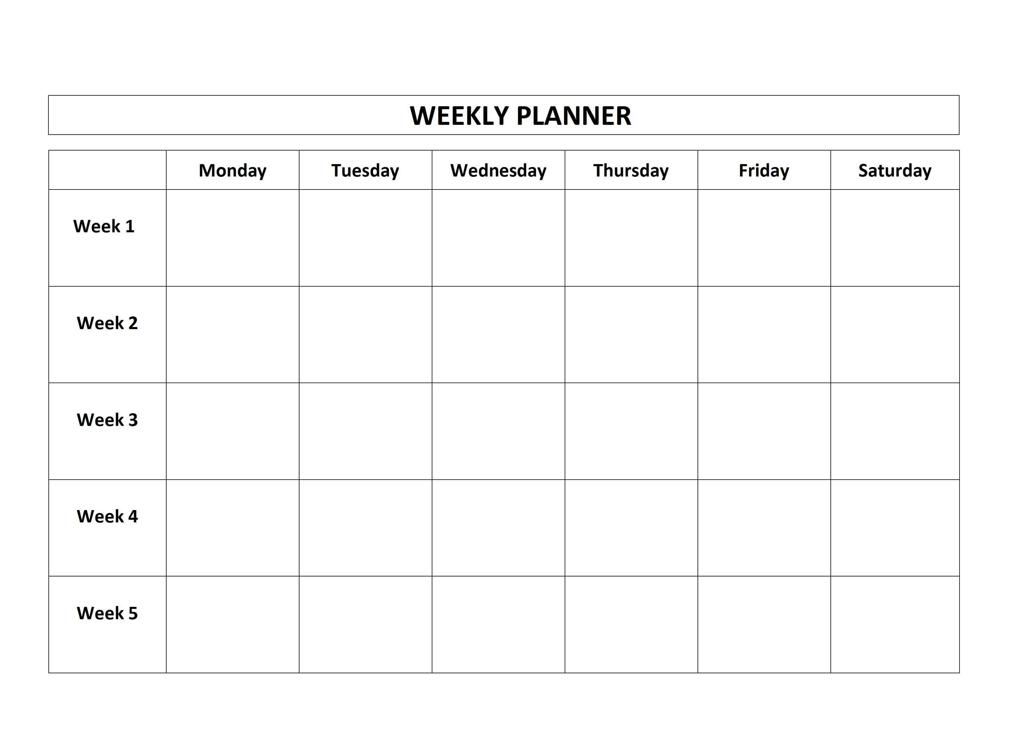 Monday To Friday Planner Template | Calendar For Planning Weekly Planner Template Monday Thru Friday