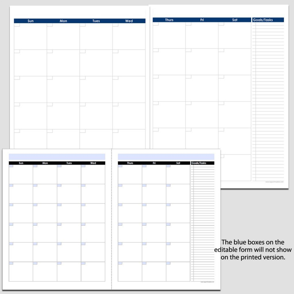 """Monthly 2 Page Perpetual Calendar With Tasks – 8 1/2"""" X 11 8 1/2 X 11 Blank Calendar Pages"""