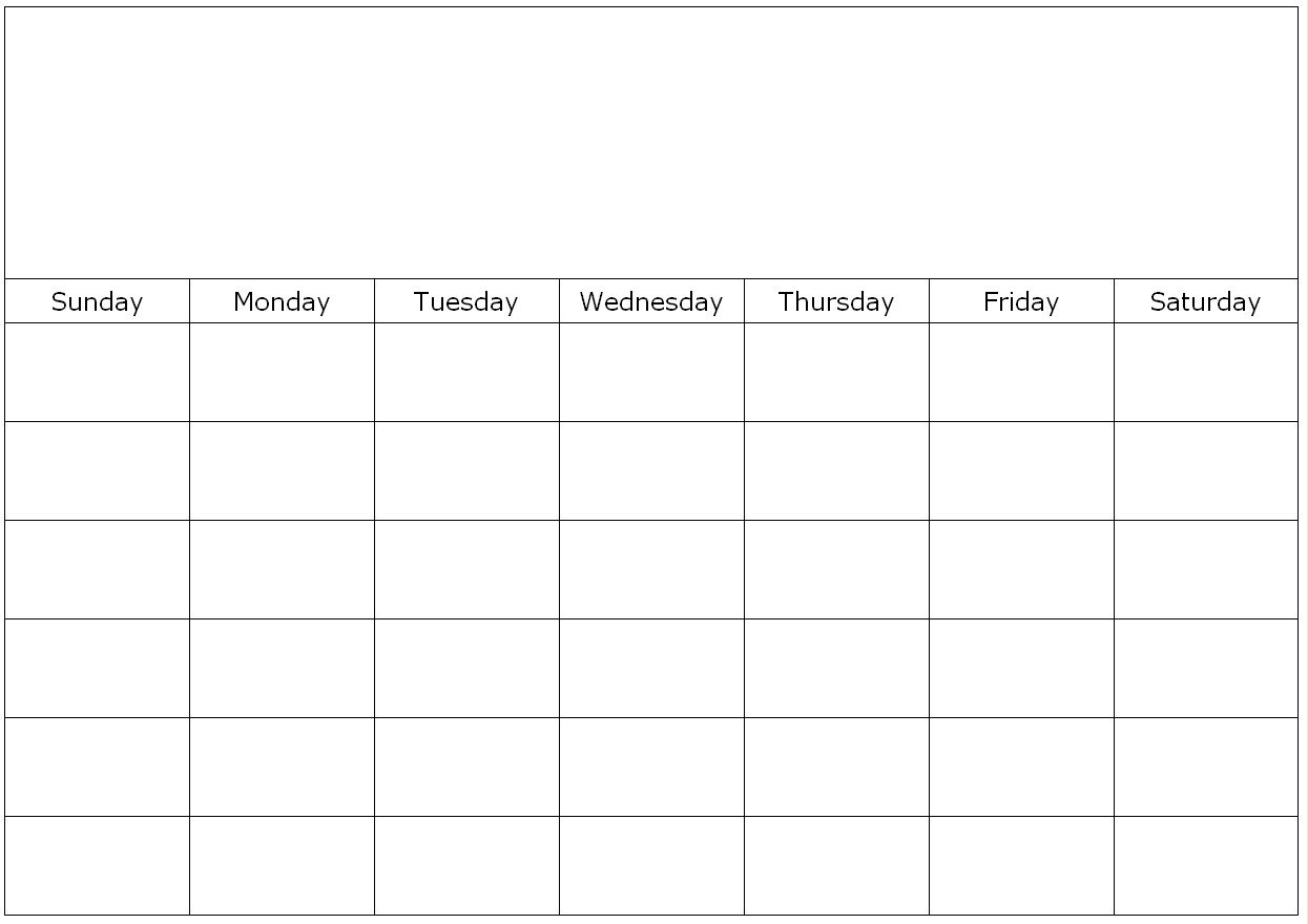 Monthly Blank Calendar Page Free Fill In Calendar
