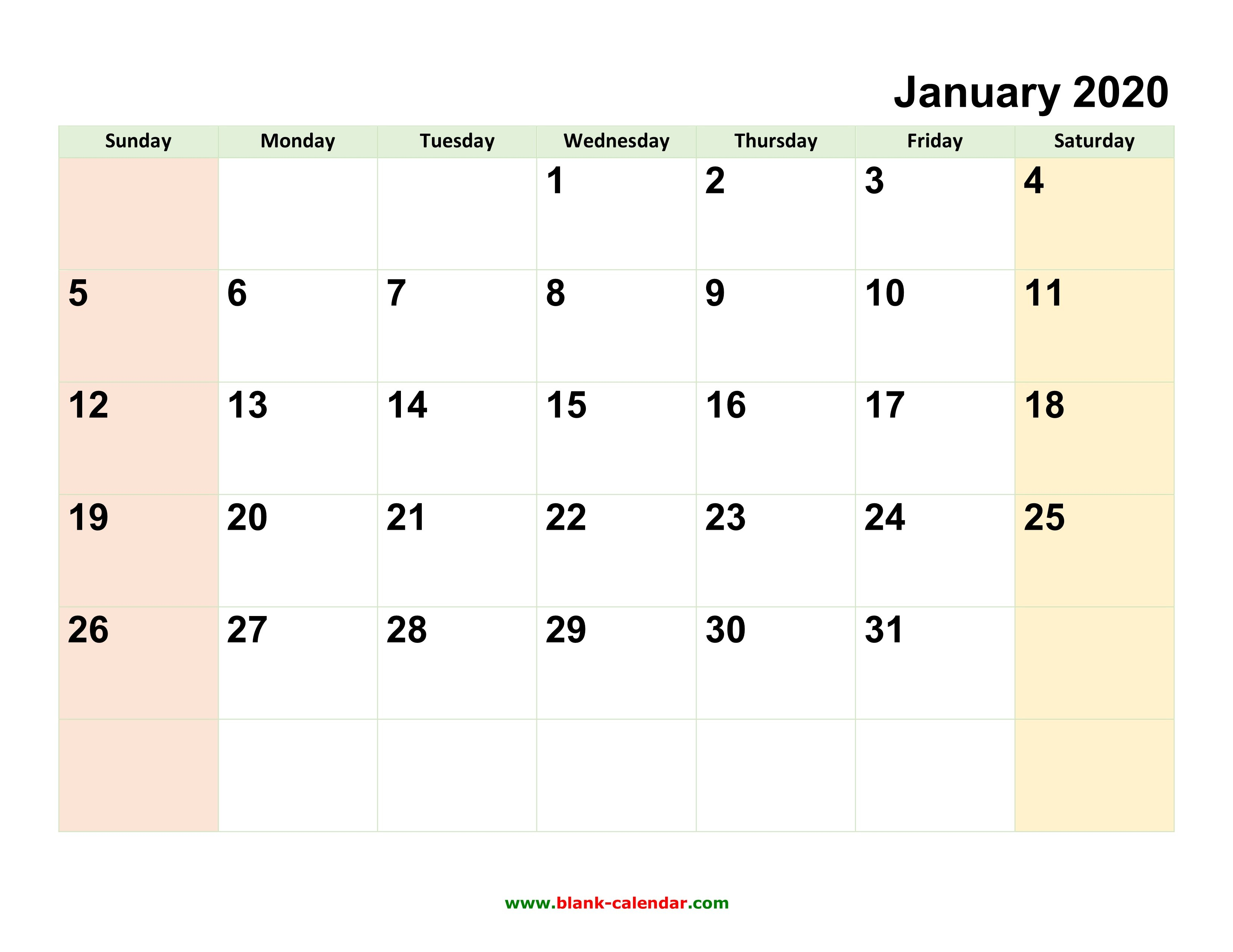 Monthly Calendar 2020 | Free Download, Editable And Printable Calendar You Can Edit Free
