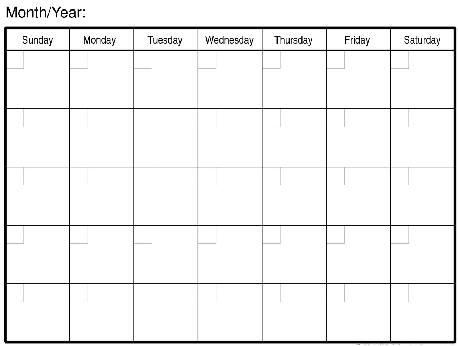 Monthly Calendar   Turexa   Blank Monthly Calendar, Monthly Blank Monday Through Friday Month Calendar Template