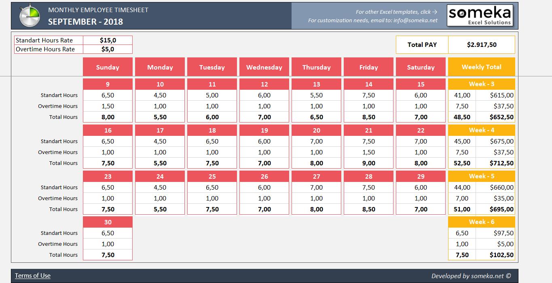 Monthly Employee Timesheet Printable Time Sheet Calendar
