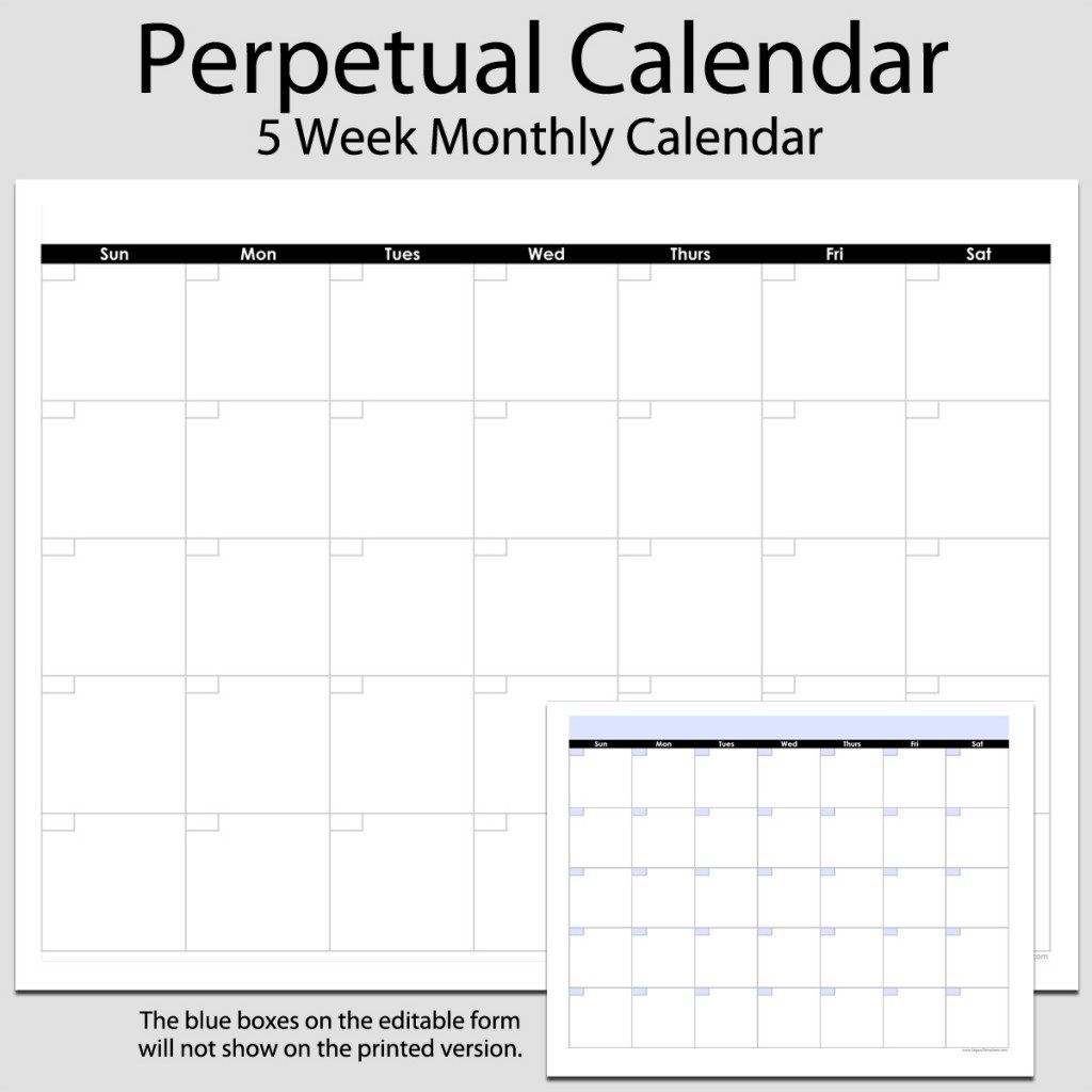Monthly Perpetual Calendar In Landscape – 8 1/2″ X 11 8 1/2 X 11 Blank Calendar Pages