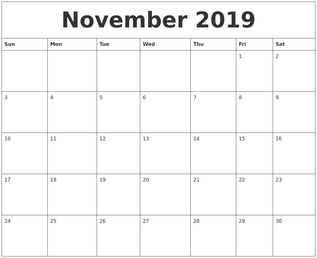 November 2019 Birthday Calendar Template Birthday Calendar Fill In Online