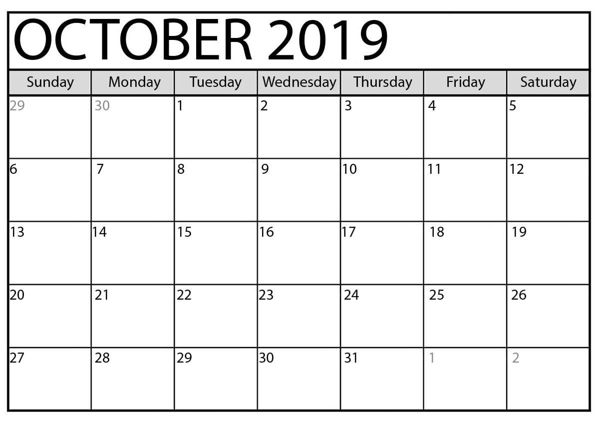 October 2019 Calendar Printable Word Template – Latest Fillable Calendar For Excercise