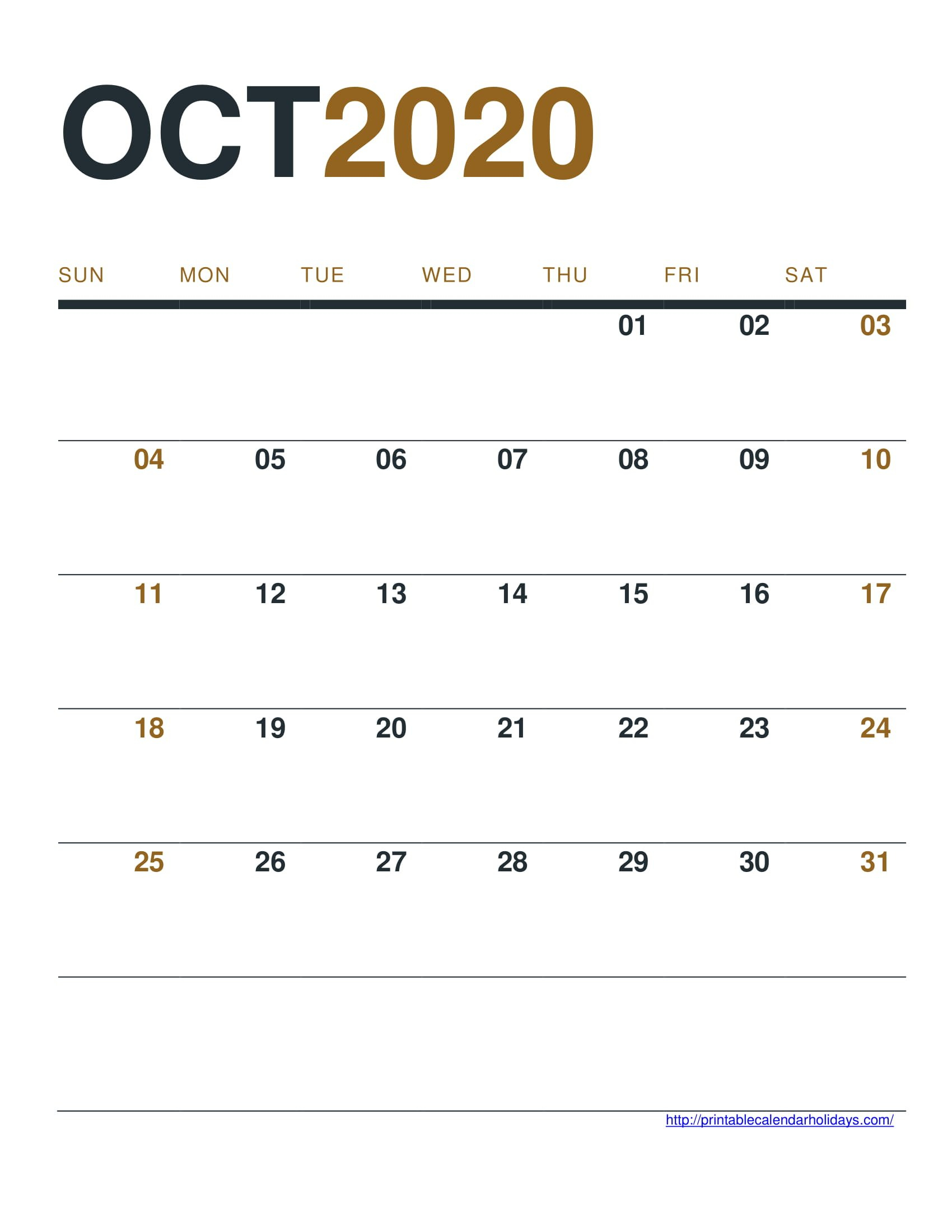 October 2020 Calendar Printable Free – Printable Calendar Free Calendar To Edit And Save