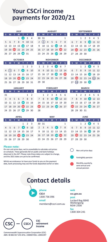 Payday | Pensioner | Retirement | Members – Csc 5 Year Retirement Calendar
