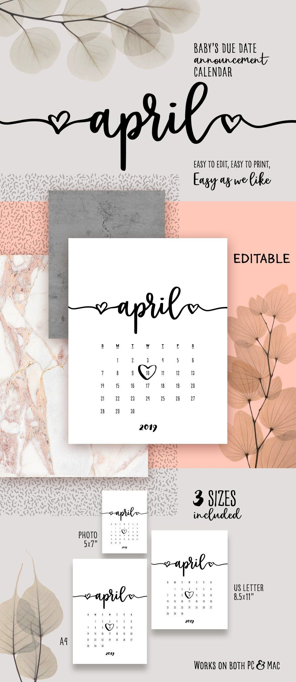 Pin On Pregnancy Announcement Calendar Free Printable Baby Due Date Calendar