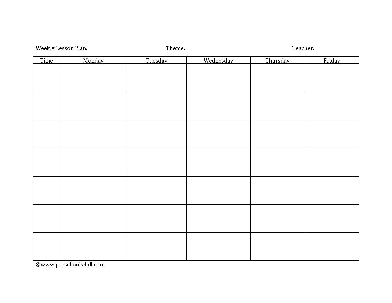 Preschool Lesson Plan Template – Lesson Plan Book Template Lesson Plan Template Weekly Prescool Plannar