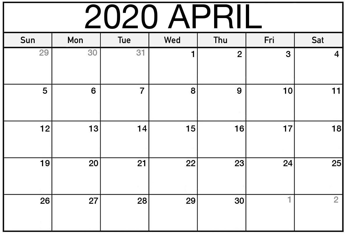 Print Calendar For April 2020 Monthly Fillable Sheets – Set Fillable Calendar For Excercise