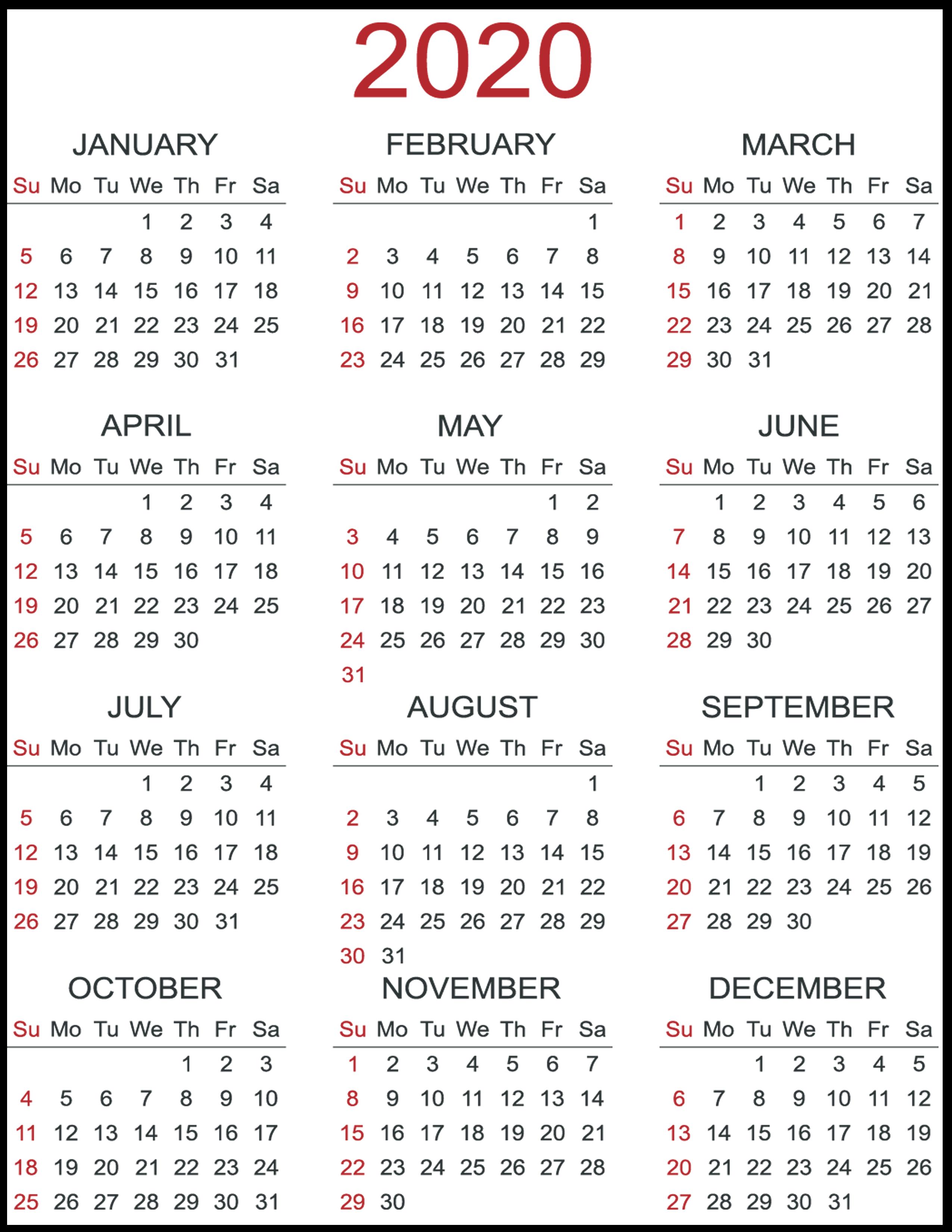 Print Yearly Calendar 2020 Free   Calendar Printables Free 4 Year Printable Calendar