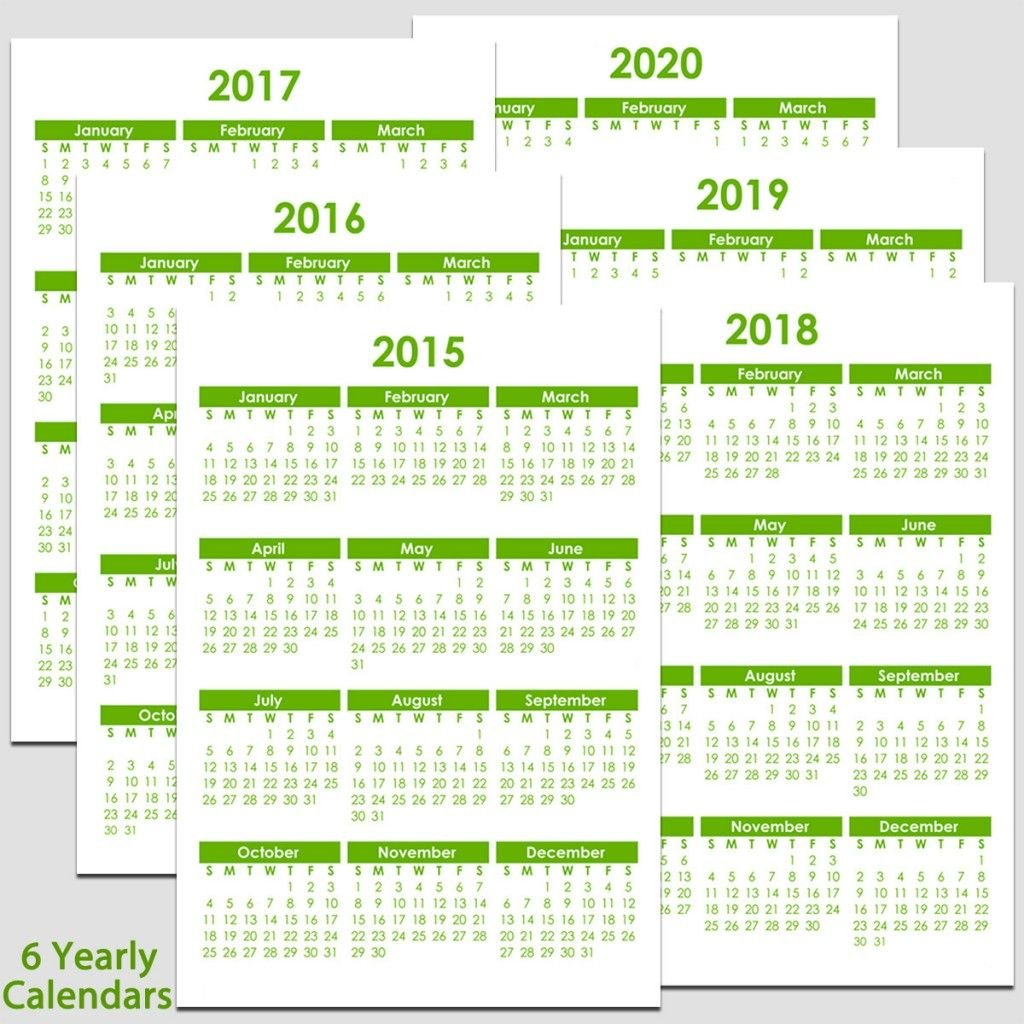 Printable 2015 To 2020 Yearly Calendar – 8 1/2″ X 11″. The 8 1/2 X 11 Blank Calendar Pages