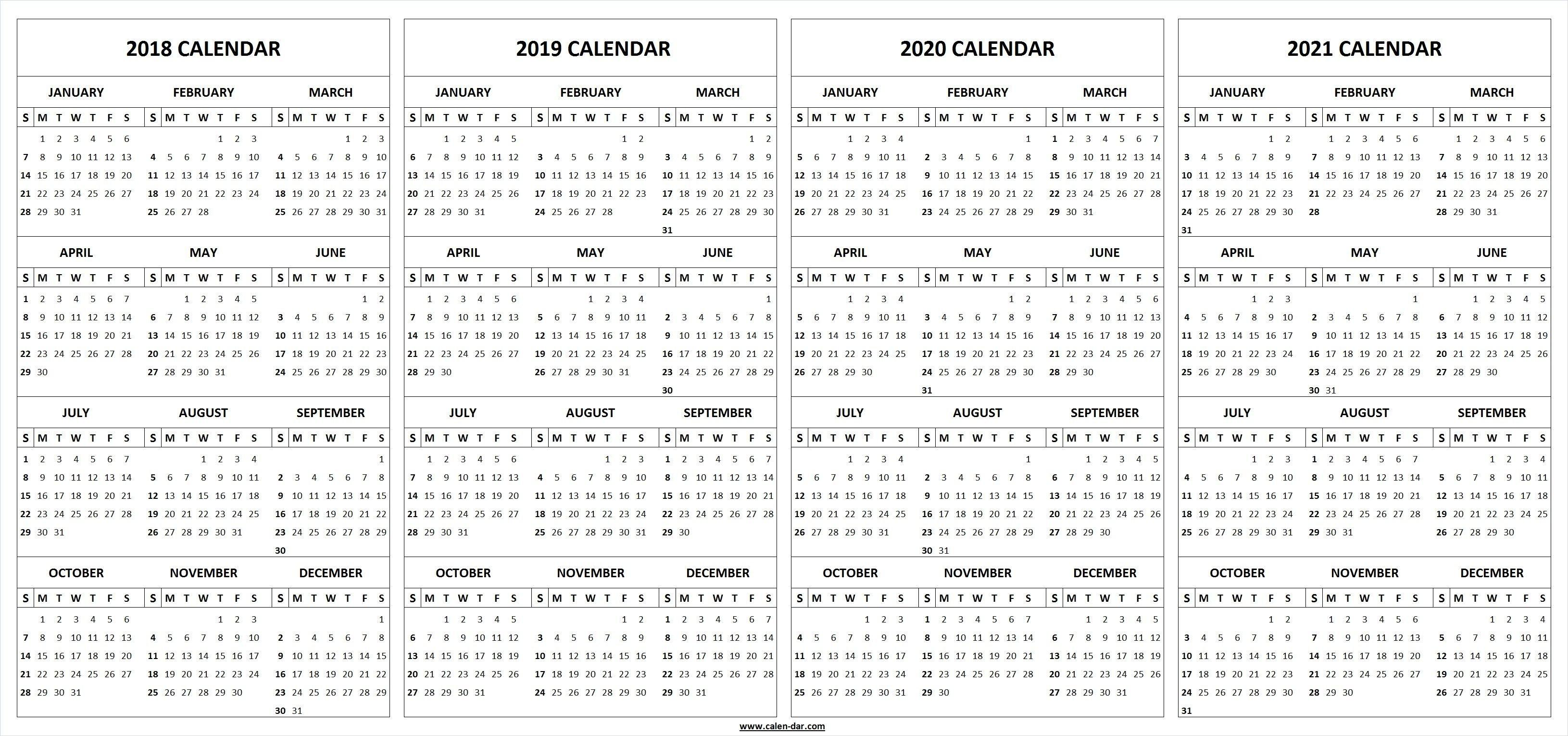 Printable 2018 2019 2020 2021 Calendar Template (With Images Printable 5 Year Calendar