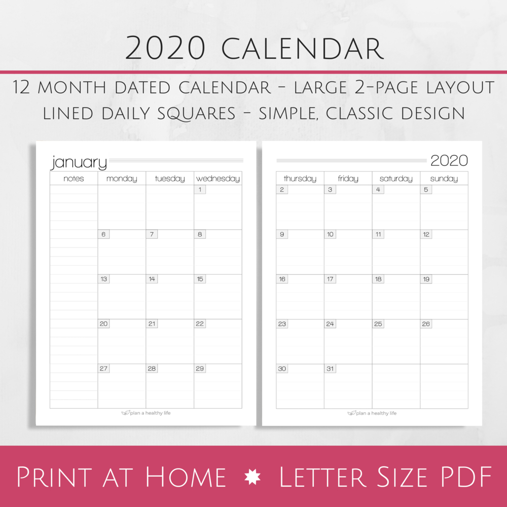 Printable 2020 Monthly Calendar – Large 2 Page Layout — Plan A Healthy Life Printable 2 Page Monthly Calendar