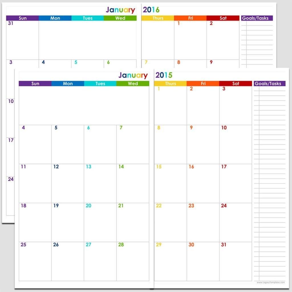 Printable 24 Month 2 Page Calendar – 2015 & 2016 – 5 1/2″ X Free 8 1/2 By 11 Blank Calendar