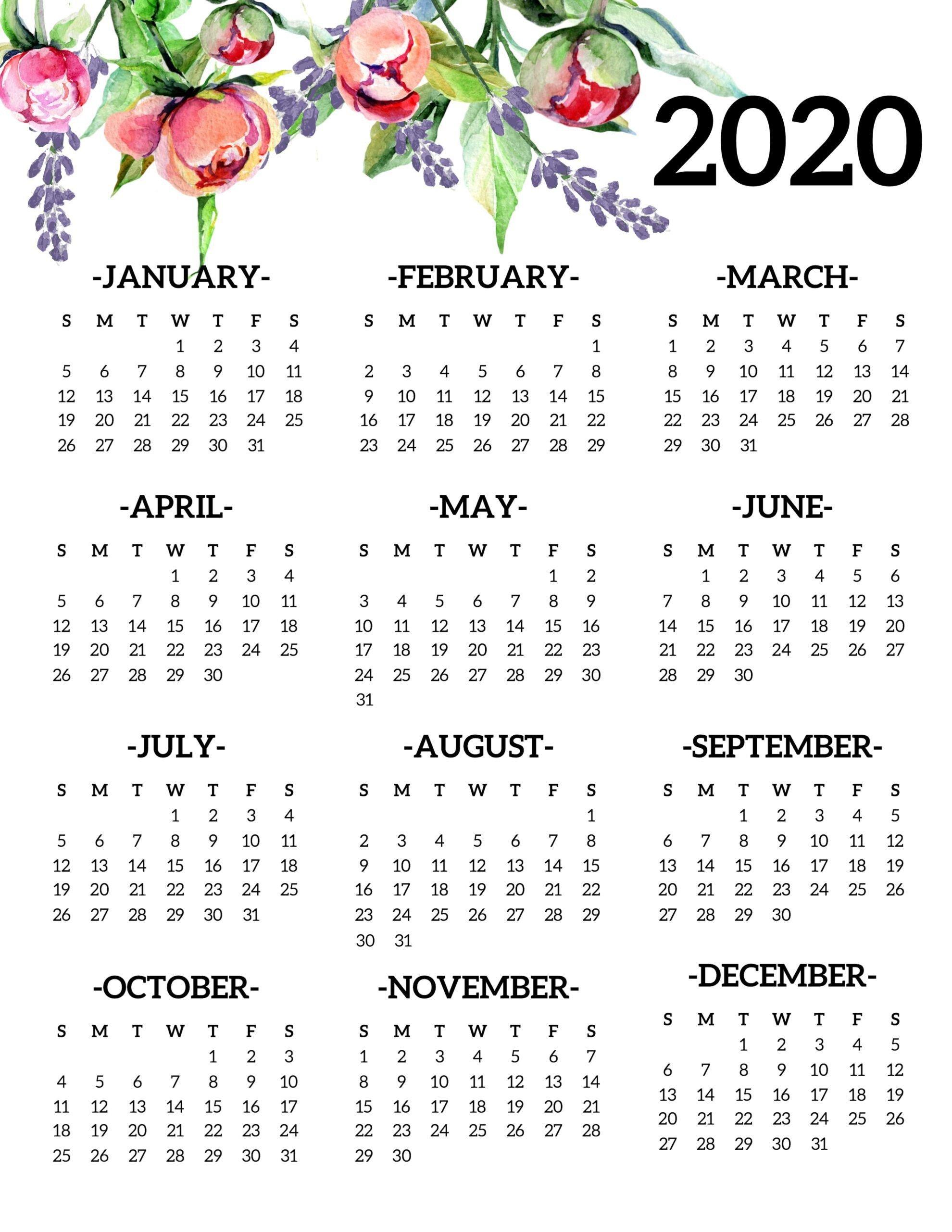 Printable Annual Calendar 2020 | Kalender, Buku Mewarnai 4 Year Calendar Template