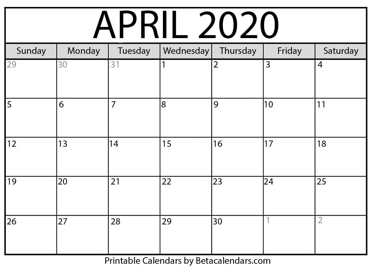 Printable April 2020 Calendar – Beta Calendars Feree Blank Butterfy Calendar Month To Fill In