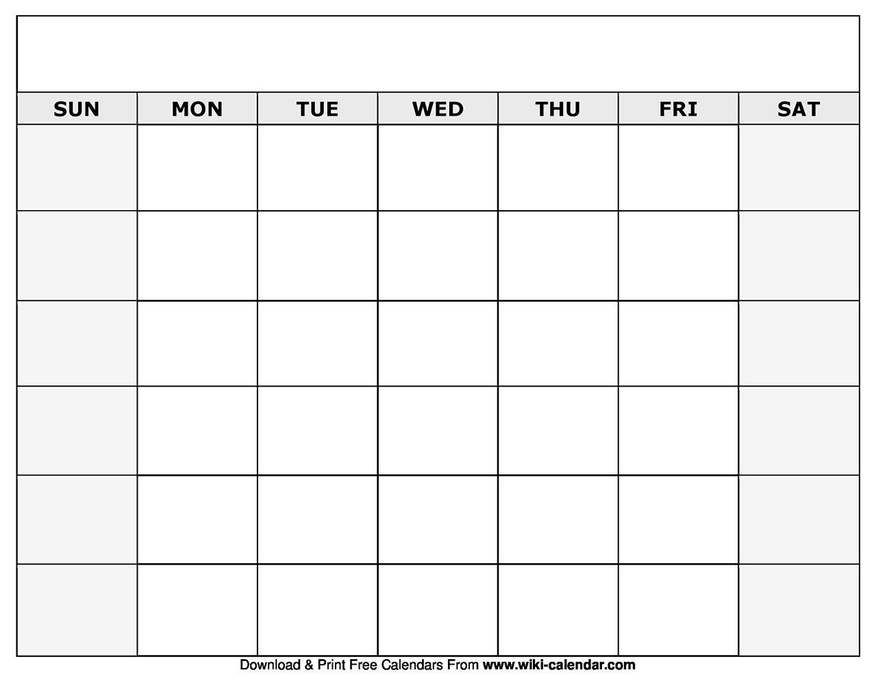 Printable Blank Calendar Templates Fill In Blank Calendar Fill In Blank Calendar Templates