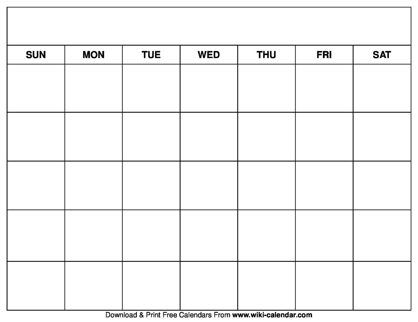 Printable Blank Calendar Templates Free Fill In Calendar