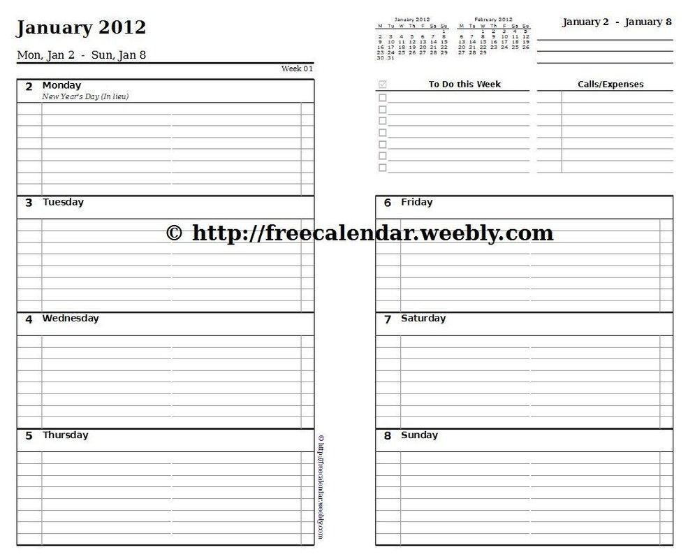 Printable Calendar 2012 – Free Printable Calendars Free Printable 8 1/2 X 11 Weekly Planner