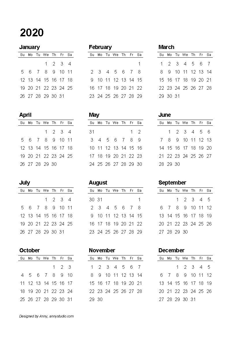 Printable Calendar Template 2020 (С Изображениями Printable Calenders With Date And Time On 8 1/2 X 11 Paper