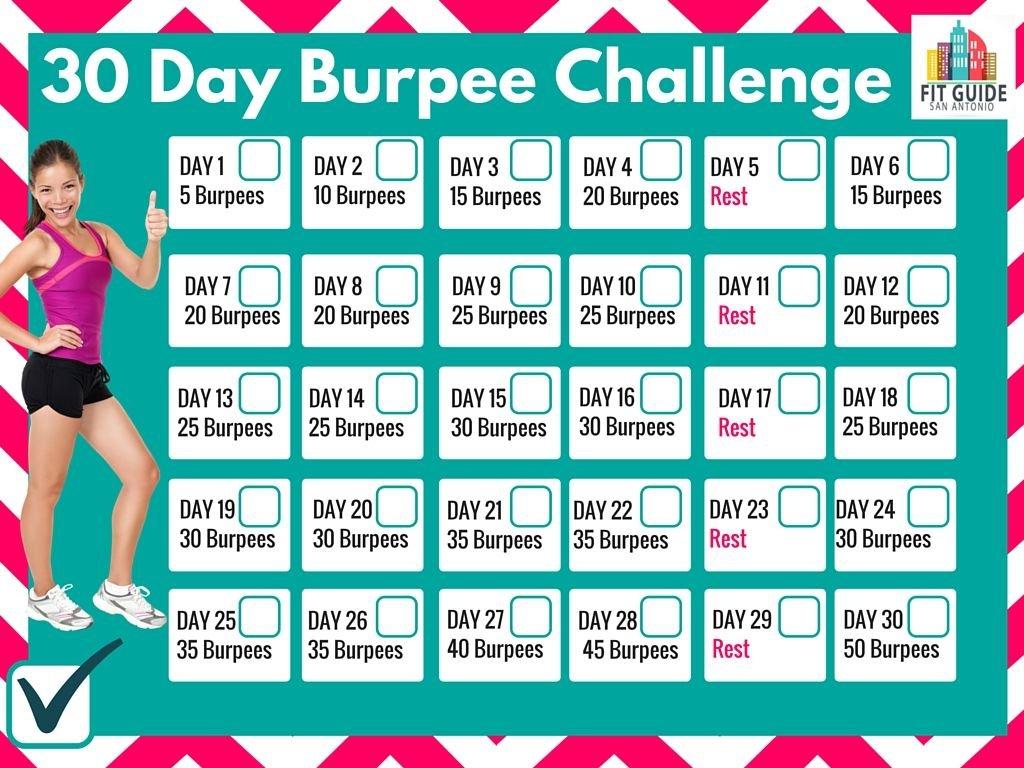 Printable Calendar To Track Your Progress! Burpee Challenge Squat Challenge Calendar Beginner Printable