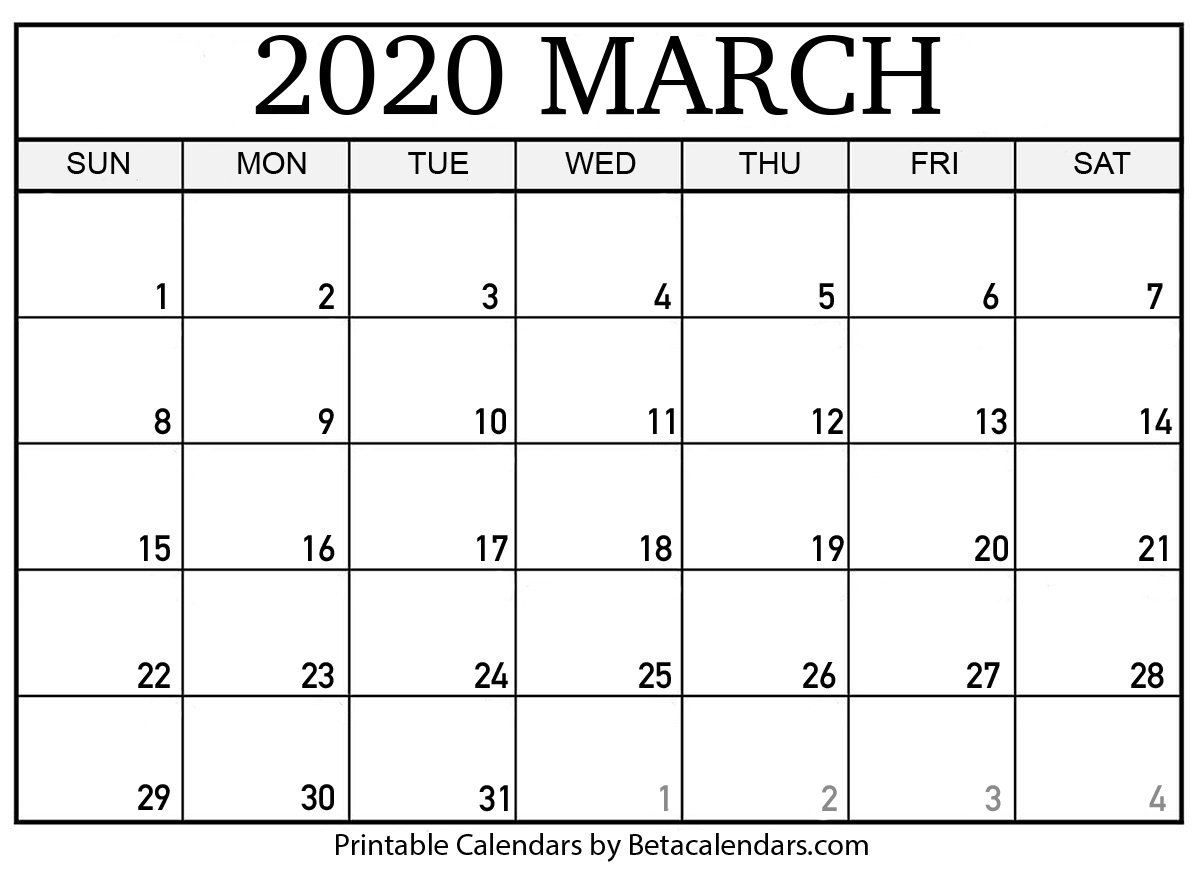 Printable March 2020 Calendar – Beta Calendars March Last 2 Weeks Calendar