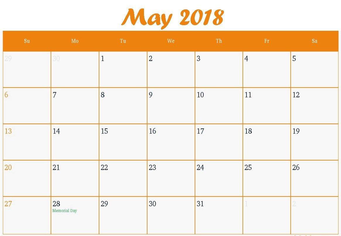 Printable May 2018 Calendar Fillable | Business Calendar Fillable Calendar For Excercise
