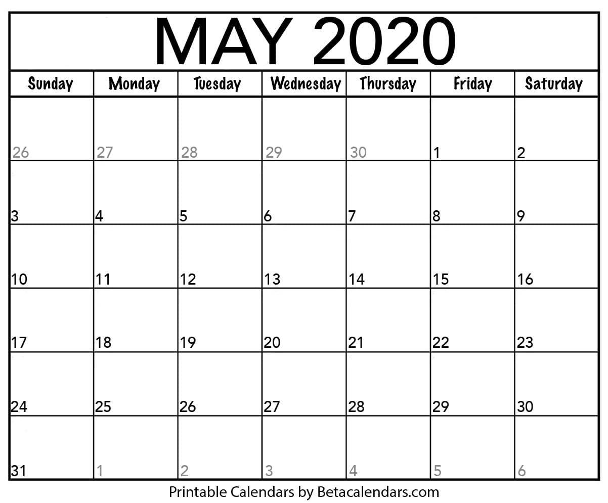 Printable May 2020 Calendar – Beta Calendars Www.may Caldenar With Monday Thru Fri Dates