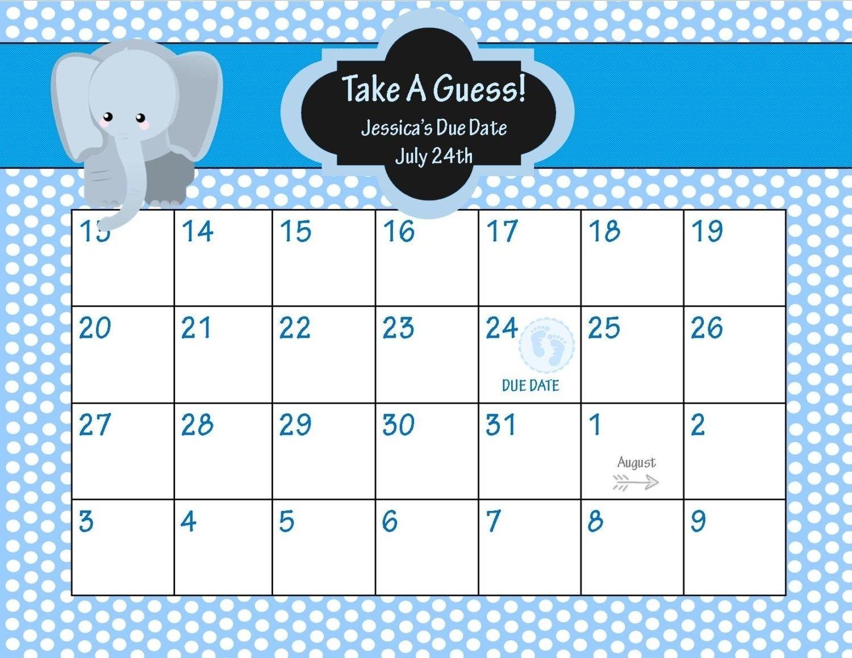 Printable Pregnancy Calendar Countdown | Monthly Printable Free Printable Baby Due Date Calendar